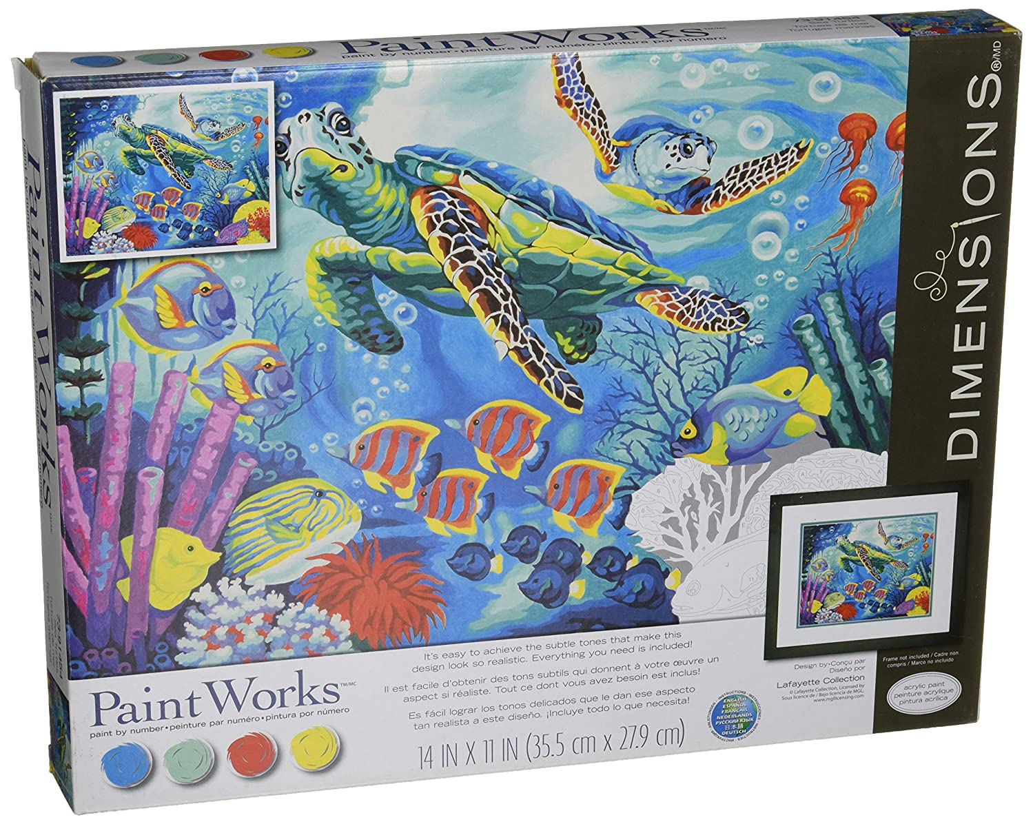 Dimensions Sea Turtles Paint by Numbers for Adults, 14'' W x 11'' L