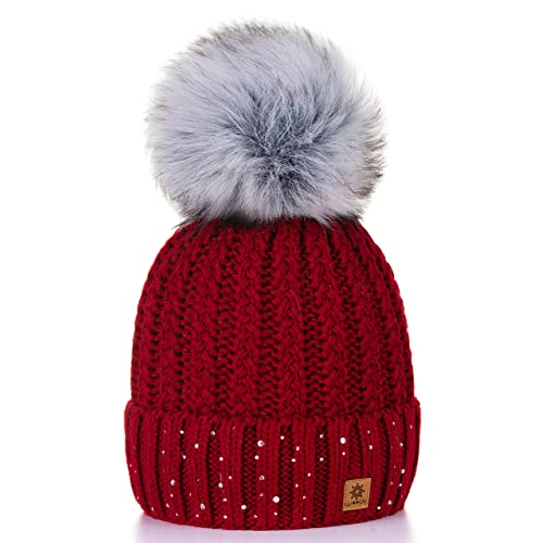 0d1d6b723a1 4sold Womens Ladies Winter Hat Wool Knitted Beanie with Large Pom Pom Cap  SKI Snowboard Hats
