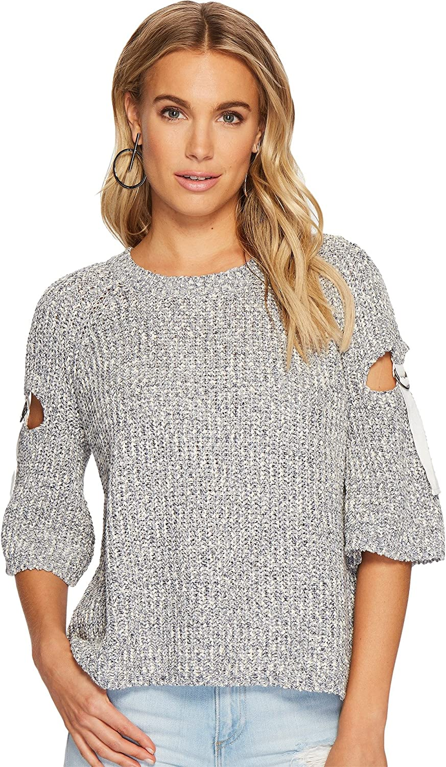 1.State Womens Short Sleeve Sweater w DRing Detail