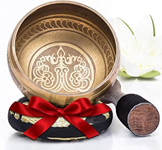 Silent Mind ~ Tibetan Singing Bowl Set ~ Bronze Mantra Design ~ With Dual Surface Mallet and Silk Cushion ~ Promotes Peace...