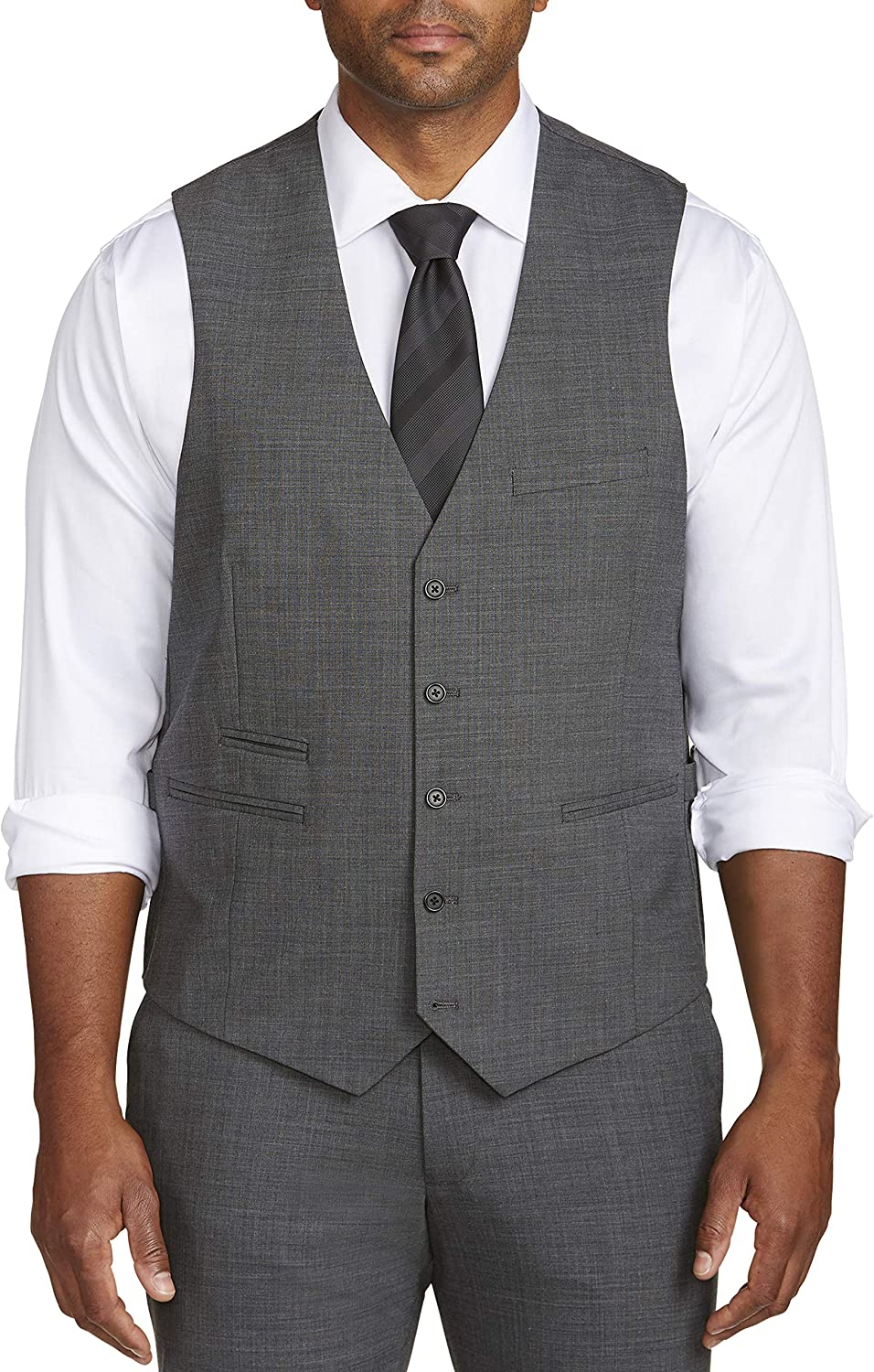 Synrgy by DXL Big and Tall Performance Suit Vest, Grey