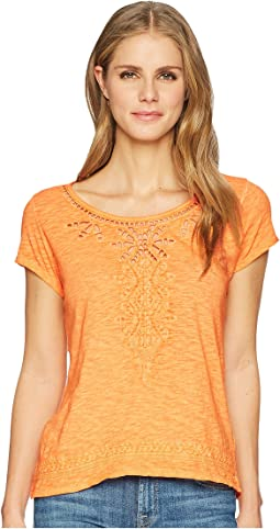 Tribal - Jersey Slub Cap Sleeve Embroidered Top