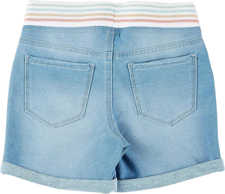 Vanilla Star Big Girls Glitter Rib Waist Denim Midi Shorts