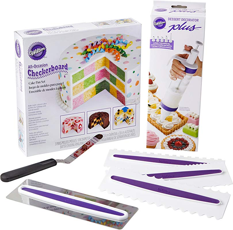 Wilton How To Make A Checkerboard Cake Decorating Set 7 Piece With Round Cake Pans Decorating Tool Icing Smoother 3 Icing Combs And Spatula