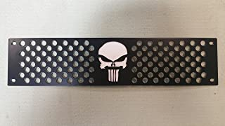 Mountains2Metal Punisher Skull Editon Powder Coated Black Bumper Grille Insert with White Backing Plate Compatible with 2015-2019 Chevy Silverado 2500 3500 HD M2M #400-110-2