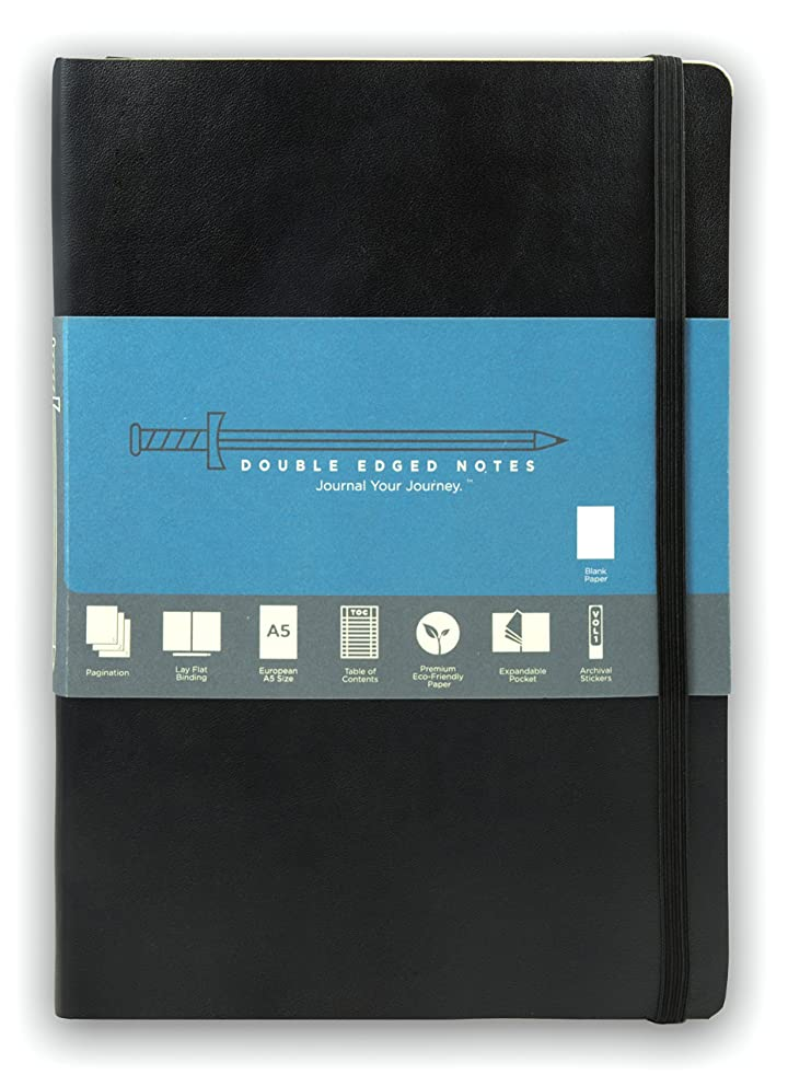 Black Softcover Journal with Blank Pages: DIY Table of Contents, 185 Numbered Pages, Archival Stickers, Premium Paper 5.75