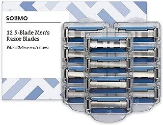 Marca Amazon- Solimo Recambios de cuchillas de cinco hojas para maquinillas de afeitar para hombre (12 piezas)
