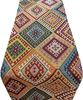Camino de mesa de lino Loft turco Kilim abstracto estilo étnico decoración de mesa de cocina disponible en 2 tamaños (3...