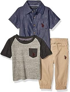 U.S. Polo Assn. Baby Boy's Short Sleeve Woven Shirt, Pocket T-Shirt, and Jogger Set Pants