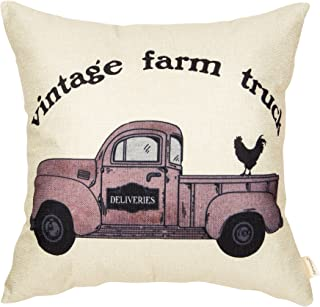 Fahrendom Vintage Farm Truck Hen Rustic Country Style Retro Farmhouse Quote Gift Cotton Linen Home Decorative Throw Pillow Case Cushion Cover with Words for Sofa Couch 18 x 18 Inch