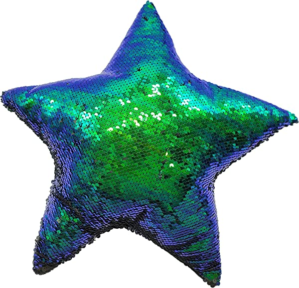 LMC Products Reversible Flip Sequin Mermaid Pillow Color Changing Star Shape Throw Pillow 15