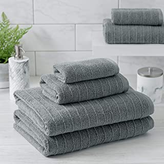 Welhome James 100% Cotton 6 Piece Towel Set   Grey   Stripe Textured   Supersoft & Durable   Highly Absorbent & Quick Dry...
