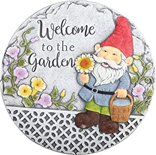 TERESA'S COLLECTIONS Garden Gnome Stepping Stones for Kids, Welcome to The Garden Funny Decorative Stepping Stones for Gar...