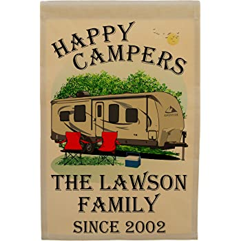 Happy Campers Personalized Camping Themed Flag with 3 Lines of Custom Text, Tan Travel Trailer with Black Windows on Tan Fabric
