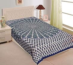 UNIBLISS 100% Cotton Comfort Rajasthani Jaipuri Traditional Single Bedsheet - Blue