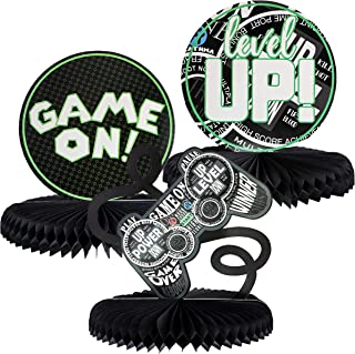 Juvale 3-Pack Video Game Honeycomb Centerpiece, Gamer Birthday Party Supplies, 3 Designs
