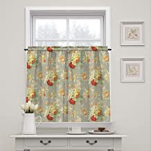 """WAVERLY Kitchen Curtains Sanctuary Rose 52"""" x 36"""" Small Panel Tiers Privacy Window Treatment Pair Bathroom, Living Room, Clay"""