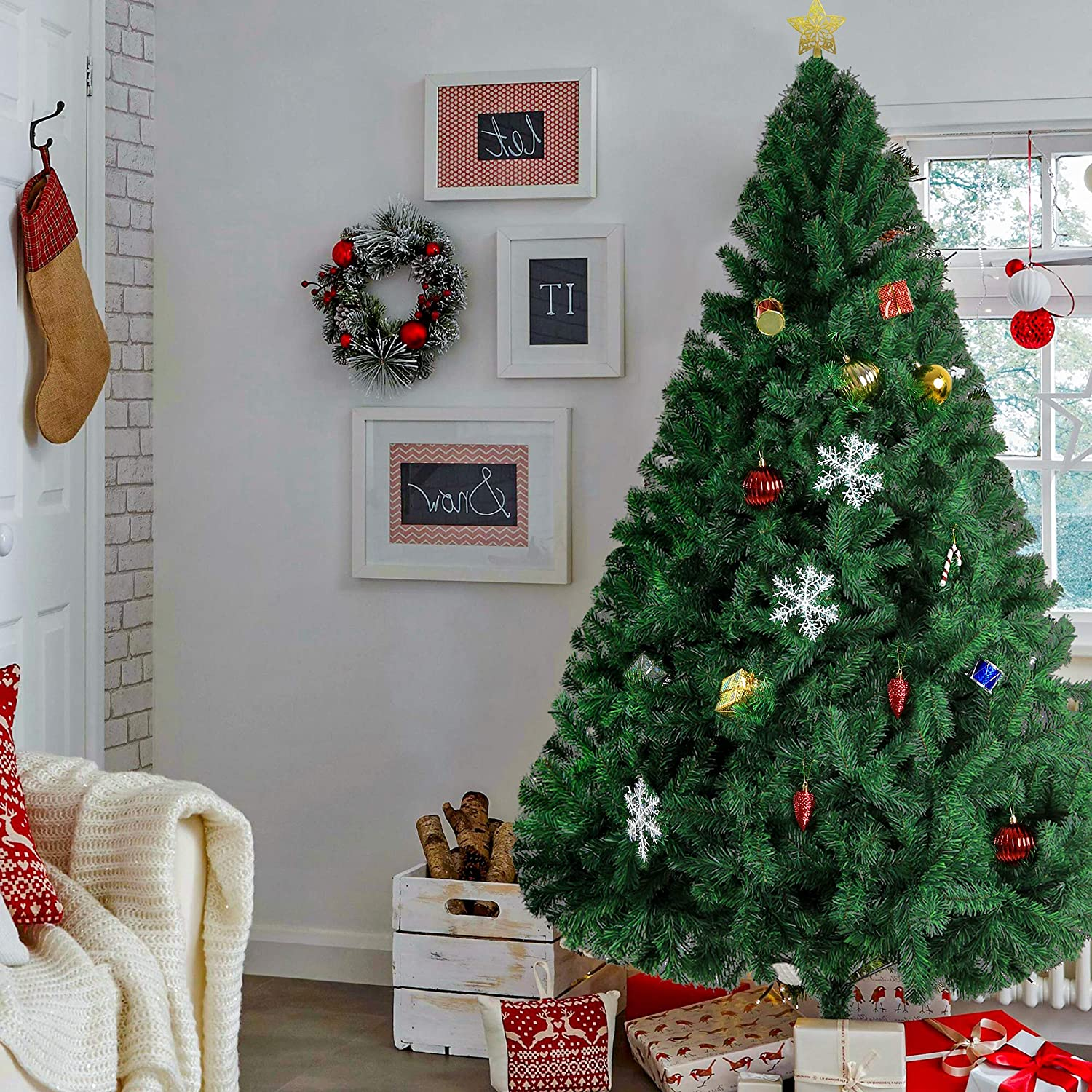 Livebest 8ft Artificial New York Mall Quantity limited PVC Christmas with Meta Tree Tips 1500