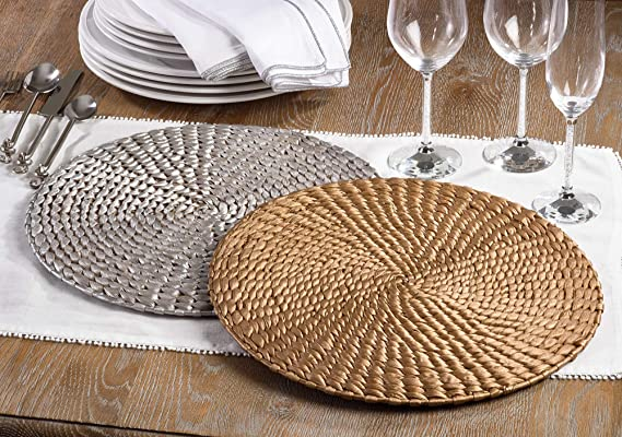 Silver Woven Water Hyacinth Placemat 15 Round 4 Ct Amazon Co Uk Kitchen Home
