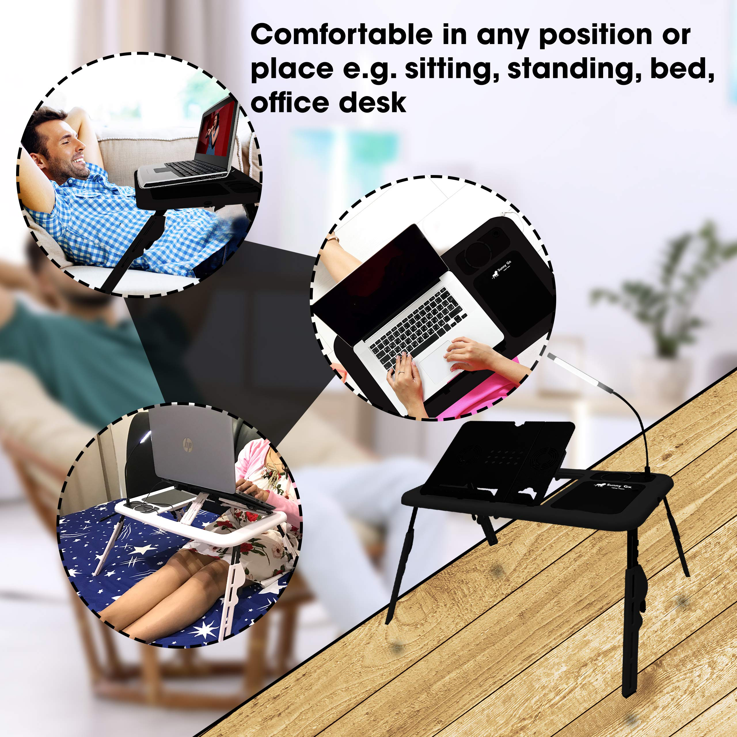 4 Different Height Adjustments Laptop Desk for Bed Foldable Bed Desk For Laptop Writing in Sofa,Couch Wood Sunny Gx Foldable Laptop Table White LED Light With Brightness Control 2 Cooling Fan
