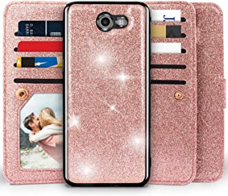 Miss Arts [Detachable] Magnetic Glitter Wallet Case, 9 Card Slots Cover for Samsung Galaxy J3 Prime/ J3 Emerge/Express Prime 2/ Amp Prime 2/ J3 Mission/ J3 Eclipse/ J3 Luna Pro/Sol 2/ J3 2017