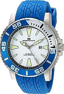ساعة أوشينت للرجال كوارتز من الفولاذ المقاوم للصدأ والسيليكون، اللون: أزرق (OC2919)