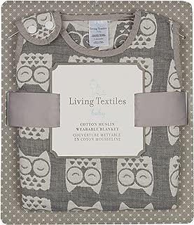 Living Textiles Muslin Jacquard Wearable Baby Blanket - Grey Owl