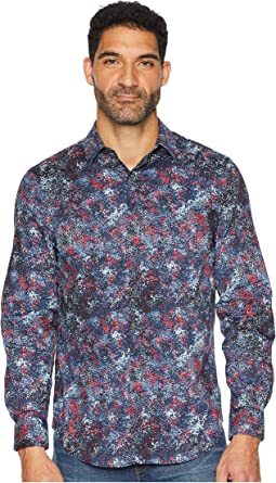 Multicolor Splatter Print Stretch Shirt
