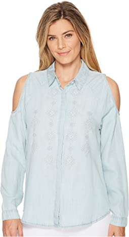 Miss Me - Cold Shoulder Embroidered Top