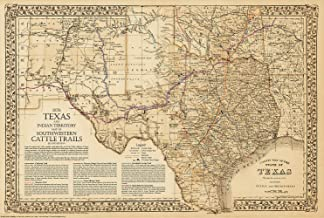1876 Great Texas & Southwestern Cattle Trails Map 2nd Ed.