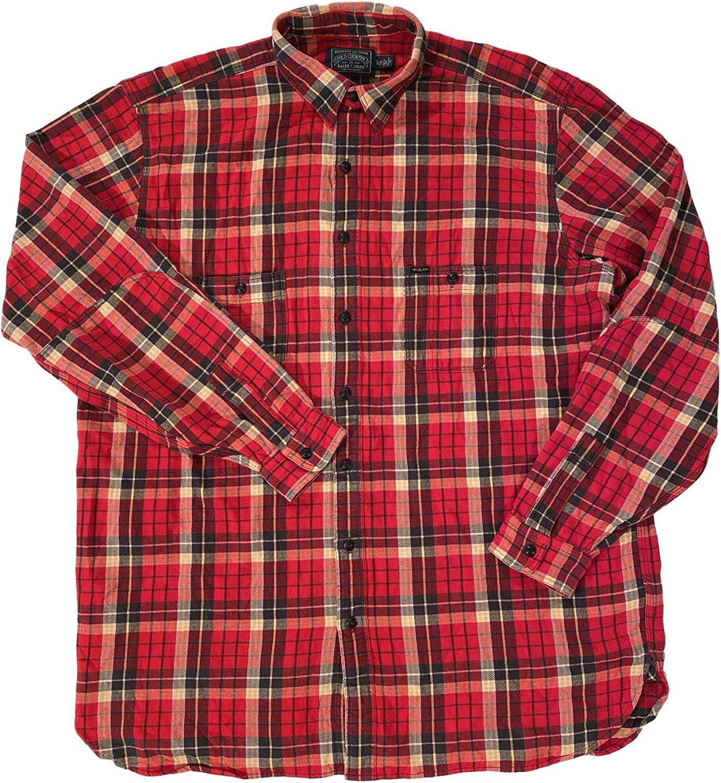 Men's ADIRONDAK RED Plaid Big & Tall L/S Woven Flannel Work Shirt
