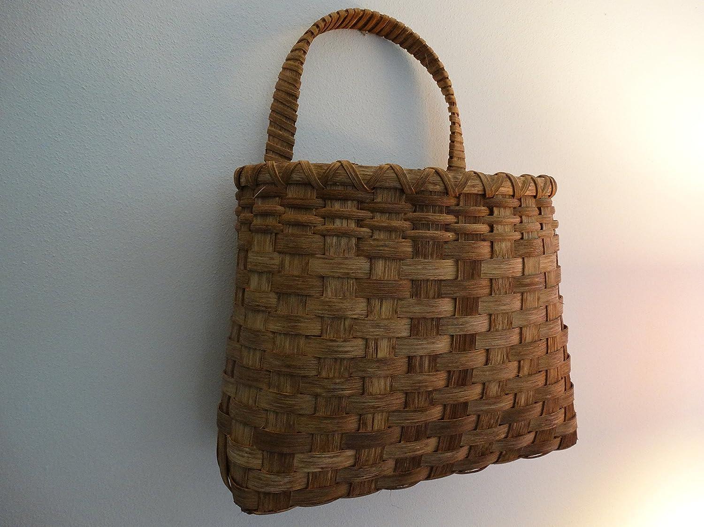 Hand Woven Basket. Wall Basket Super sale period limited Kansas City Mall in made golden oak. dark bas