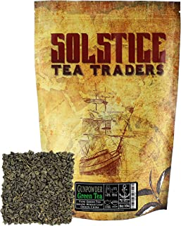 Solstice Gunpowder Loose Leaf Green Tea, Bulk Tea- 1 LB- One Pound-16oz-Approx 200 cups