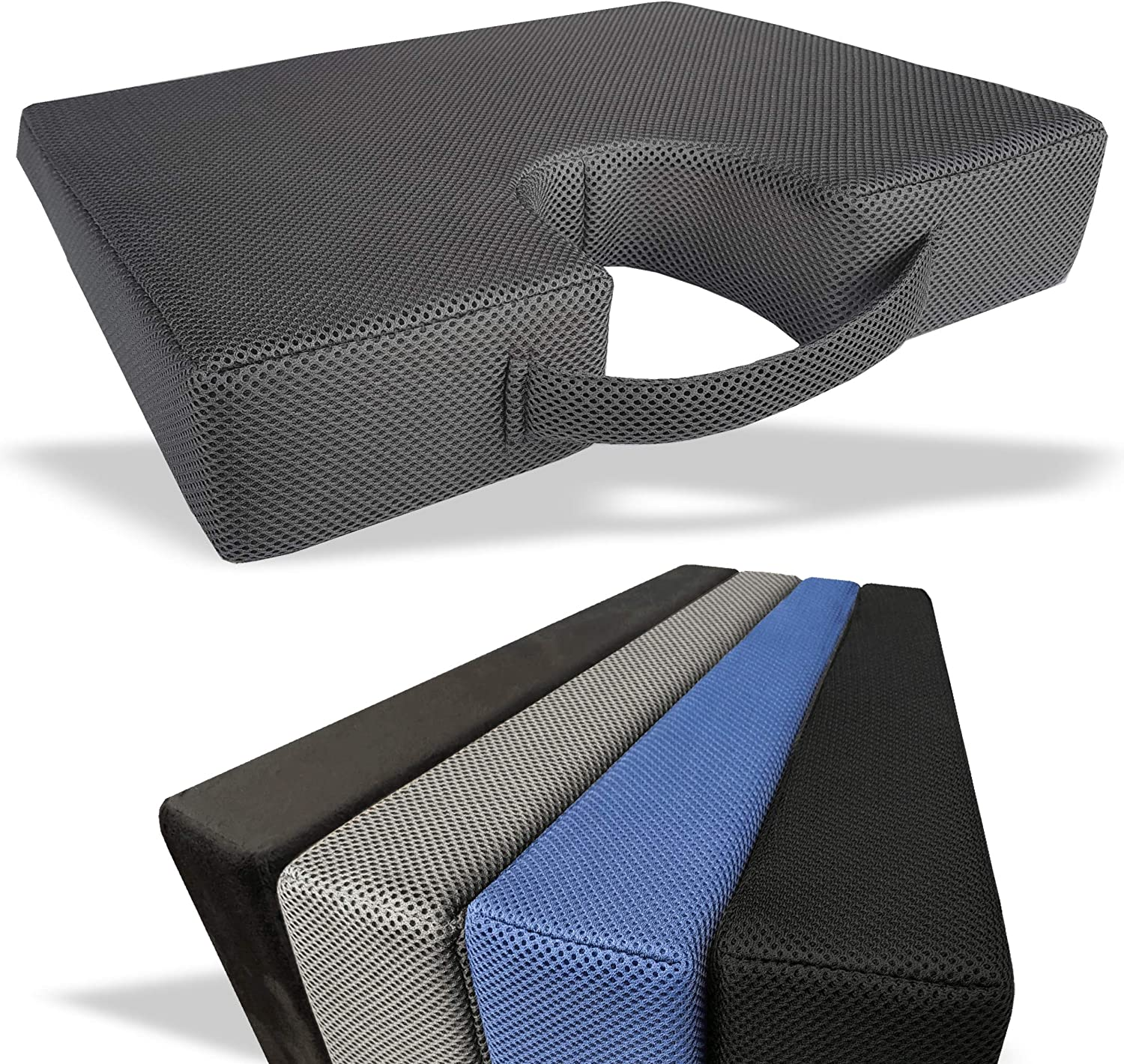 Medipaq Memory Foam Wedge Cushion with Genuine Cut-Out ! Super beauty product restock quality top! S for Back Coccyx