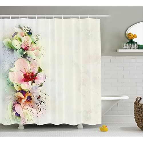 Ambesonne Shabby Chic Shower Curtain Spring Season Floral Flower Details With Leaves Abstract Backdrop