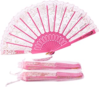 Sepwedd 30pcs Rose Lace Floral Folding Hand Fans Chinese Retro Folding Fan Bridal Dancing Props Church Wedding Gift Party Favors with Gift Bags(Pink)