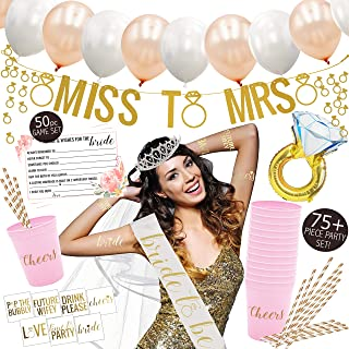 Premium Bachelorette Party Decorations Kit - Bridal Shower Supplies - 75 Items and Favors Included