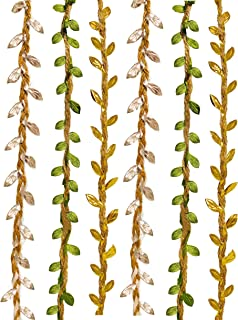 UNIQOOO 12Rolls,120 Ft. Artificial Vines Leaf Ribbon Trim,Gold, Sliver, Green,Satin Burlap Olive Leaves,40Yards,For Garlands Wreath Decor,Packaging, Balloon Tail, Gift Wrapping,Greenery Embellishments
