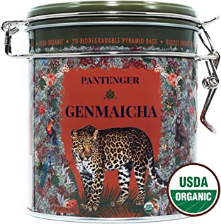Genmaicha Green Tea With Roasted Brown Rice. Japanese Genmaicha Tea Bags. 20 XL Pyramids. USDA Organic Green Tea. High Levels of Antioxidants and Amino Acids.