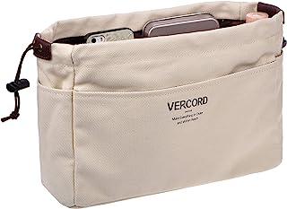 Vercord Canvas Handbag Organizers, Sturdy Purse Insert Organizer Bag in Bag, 10 Pockets 7 Colors 2 Sizes