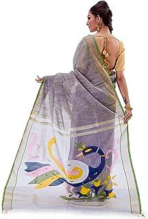 SareesofBengal Women's Handloom Muslin Dhakai Jamdani Silk Saree Grey Multicoloured