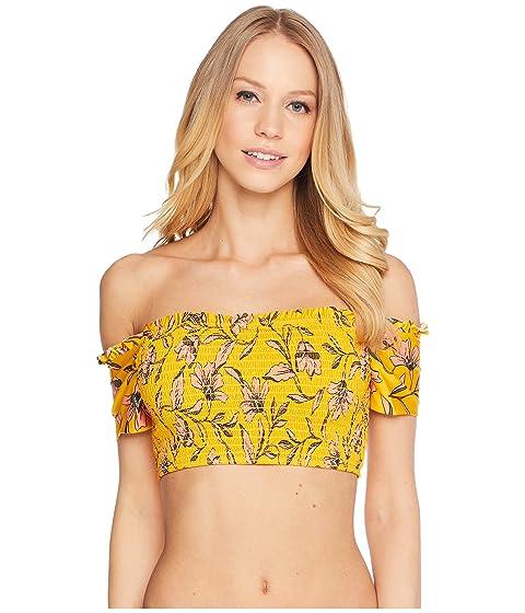 Buy Cheap For Sale Discount Online Splendid Golden Girlie Smocked Off Shoulder Bra Butterscotch yjfYvt