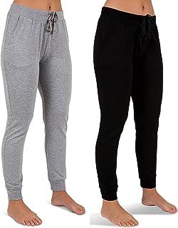 Sexy Basics Women's 2 Pack Yoga Activewear Jogger Capri Cropped Sweat Lounge Pants
