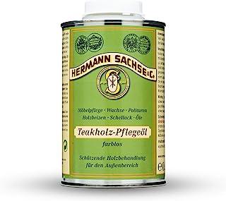 Hermann Sachse Teakholz- Pflegeöl - 500ml - Holzpflegeöl - Holzöl - Teakholzöl farblos. -Teaköl zur Erst- und Nachbehandlung für Gartenmöbel außen - Hartholz Pflegemittel - Made in Germany