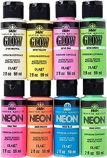 FolkArt PROMOFAGLOW8 Neon Glow Acrylic Paint Set, 2 oz