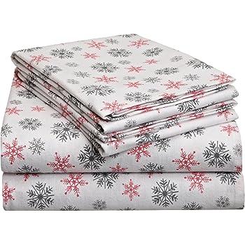 Amazon Com Pointehaven Heavy Weight Printed Flannel Sheet Set Twin Xl Snow Flakes White Home Kitchen