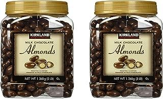 Kirkland Signature Milk Chocolate Roasted Almonds Jars [Pack of 2, 3LBS (48 Oz) Each]