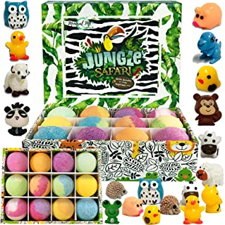 Bath Bombs for Kids with surprise inside - Set of 12 Organic Bubble Bath Fizzies with Jungle Animal toys. Gentle and kids safe Spa Bath Fizz Balls Kit. Birthday or Christmas gift for girls and boys