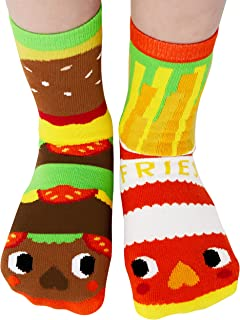 Yummy Mismatching Kids Burger & Fries Food Crew Socks With Bottom Grips Toddlers Age 1-3