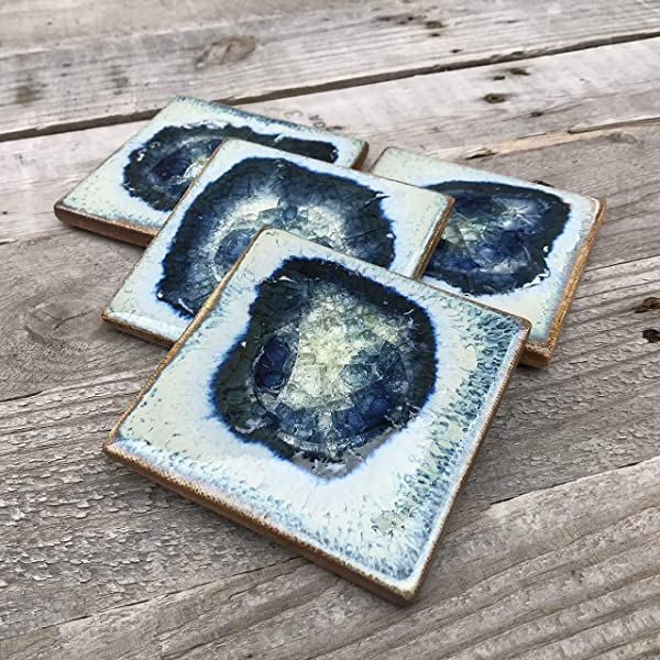Geode Crackle Coaster Set Of 4 In Cascade Geode Coaster Crackle Coaster Fused Glass Coaster Crackle Glass Coaster Agate Coaster Ceramic Coaster Dock 6 Pottery Coaster